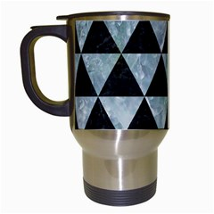 Triangle3 Black Marble & Ice Crystals Travel Mugs (white) by trendistuff