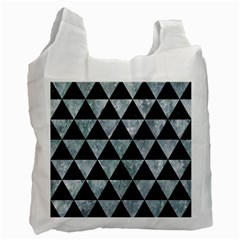 Triangle3 Black Marble & Ice Crystals Recycle Bag (two Side)  by trendistuff