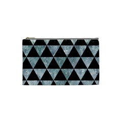 Triangle3 Black Marble & Ice Crystals Cosmetic Bag (small)  by trendistuff