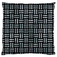 Woven1 Black Marble & Ice Crystals (r) Large Cushion Case (one Side) by trendistuff