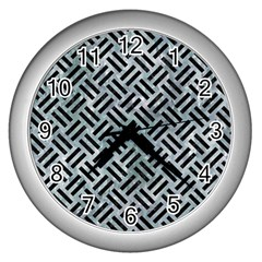 Woven2 Black Marble & Ice Crystals Wall Clocks (silver)  by trendistuff