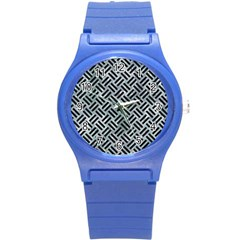 Woven2 Black Marble & Ice Crystals Round Plastic Sport Watch (s) by trendistuff