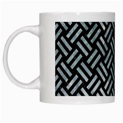 Woven2 Black Marble & Ice Crystals (r) White Mugs by trendistuff