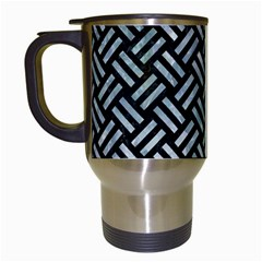 Woven2 Black Marble & Ice Crystals (r) Travel Mugs (white) by trendistuff