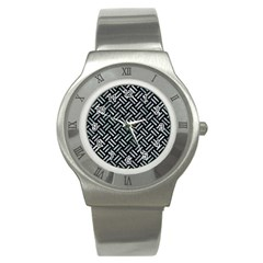 Woven2 Black Marble & Ice Crystals (r) Stainless Steel Watch by trendistuff