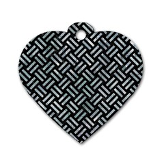 Woven2 Black Marble & Ice Crystals (r) Dog Tag Heart (two Sides) by trendistuff