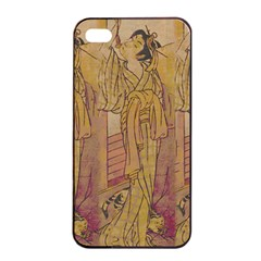 Japanese Geisha With Cat Illustration Apple Iphone 4/4s Seamless Case (black) by paulaoliveiradesign