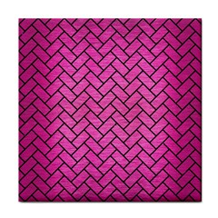 Brick2 Black Marble & Pink Brushed Metal Tile Coasters by trendistuff