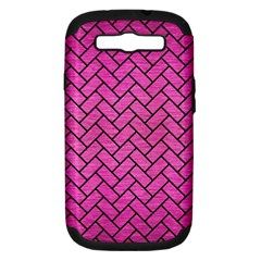Brick2 Black Marble & Pink Brushed Metal Samsung Galaxy S Iii Hardshell Case (pc+silicone) by trendistuff