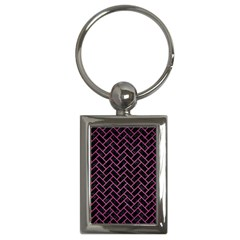 Brick2 Black Marble & Pink Brushed Metal (r) Key Chains (rectangle)  by trendistuff