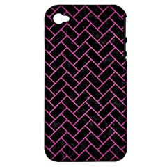 Brick2 Black Marble & Pink Brushed Metal (r) Apple Iphone 4/4s Hardshell Case (pc+silicone) by trendistuff