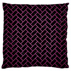 Brick2 Black Marble & Pink Brushed Metal (r) Large Flano Cushion Case (two Sides) by trendistuff