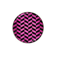 Chevron1 Black Marble & Pink Brushed Metal Hat Clip Ball Marker by trendistuff
