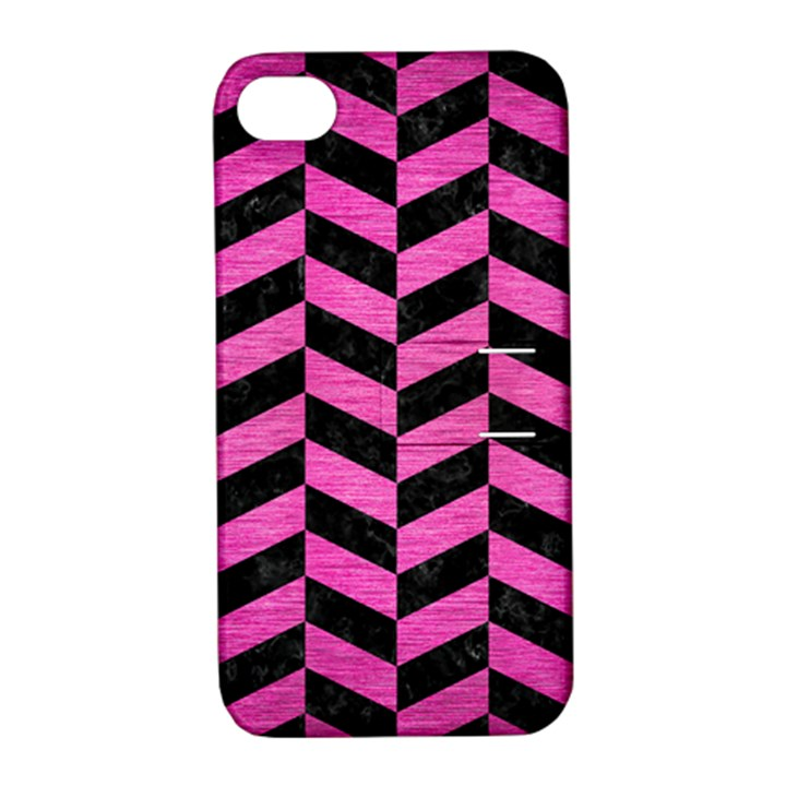 CHEVRON1 BLACK MARBLE & PINK BRUSHED METAL Apple iPhone 4/4S Hardshell Case with Stand