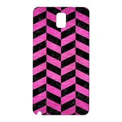 Chevron1 Black Marble & Pink Brushed Metal Samsung Galaxy Note 3 N9005 Hardshell Back Case by trendistuff