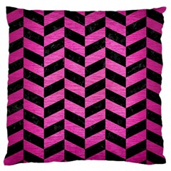 Chevron1 Black Marble & Pink Brushed Metal Standard Flano Cushion Case (one Side) by trendistuff