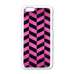 Chevron1 Black Marble & Pink Brushed Metal Apple Iphone 6/6s White Enamel Case by trendistuff