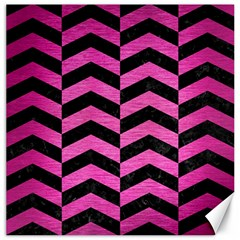 Chevron2 Black Marble & Pink Brushed Metal Canvas 16  X 16   by trendistuff