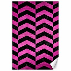 Chevron2 Black Marble & Pink Brushed Metal Canvas 20  X 30   by trendistuff