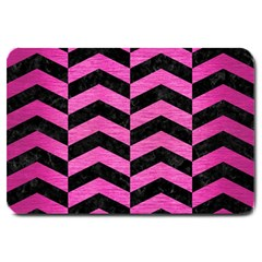 Chevron2 Black Marble & Pink Brushed Metal Large Doormat  by trendistuff