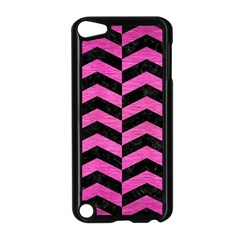 Chevron2 Black Marble & Pink Brushed Metal Apple Ipod Touch 5 Case (black) by trendistuff
