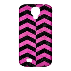 Chevron2 Black Marble & Pink Brushed Metal Samsung Galaxy S4 Classic Hardshell Case (pc+silicone) by trendistuff