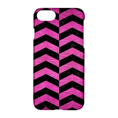 Chevron2 Black Marble & Pink Brushed Metal Apple Iphone 8 Hardshell Case by trendistuff