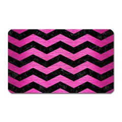 Chevron3 Black Marble & Pink Brushed Metal Magnet (rectangular) by trendistuff