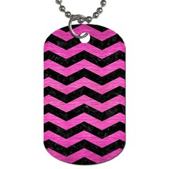 Chevron3 Black Marble & Pink Brushed Metal Dog Tag (one Side) by trendistuff