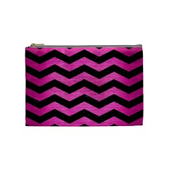Chevron3 Black Marble & Pink Brushed Metal Cosmetic Bag (medium)  by trendistuff