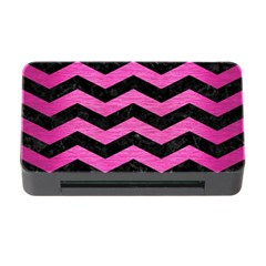 Chevron3 Black Marble & Pink Brushed Metal Memory Card Reader With Cf by trendistuff