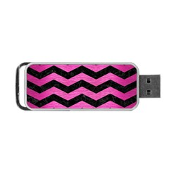 Chevron3 Black Marble & Pink Brushed Metal Portable Usb Flash (two Sides) by trendistuff