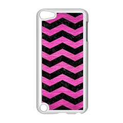 Chevron3 Black Marble & Pink Brushed Metal Apple Ipod Touch 5 Case (white) by trendistuff