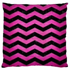 Chevron3 Black Marble & Pink Brushed Metal Standard Flano Cushion Case (one Side) by trendistuff