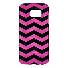 Chevron3 Black Marble & Pink Brushed Metal Samsung Galaxy S7 Edge Hardshell Case