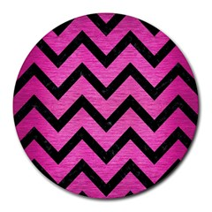 Chevron9 Black Marble & Pink Brushed Metal Round Mousepads by trendistuff