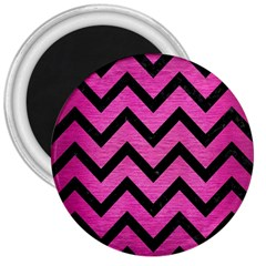 Chevron9 Black Marble & Pink Brushed Metal 3  Magnets