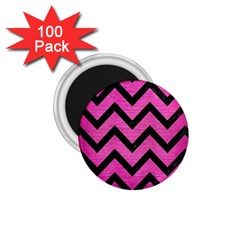 Chevron9 Black Marble & Pink Brushed Metal 1 75  Magnets (100 Pack)  by trendistuff