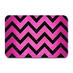 Chevron9 Black Marble & Pink Brushed Metal Plate Mats by trendistuff