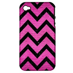 Chevron9 Black Marble & Pink Brushed Metal Apple Iphone 4/4s Hardshell Case (pc+silicone) by trendistuff