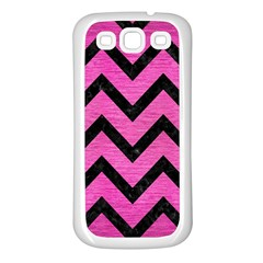Chevron9 Black Marble & Pink Brushed Metal Samsung Galaxy S3 Back Case (white) by trendistuff