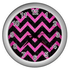 Chevron9 Black Marble & Pink Brushed Metal (r) Wall Clocks (silver)  by trendistuff