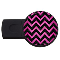 Chevron9 Black Marble & Pink Brushed Metal (r) Usb Flash Drive Round (4 Gb) by trendistuff