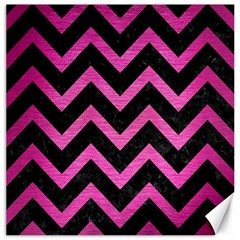 Chevron9 Black Marble & Pink Brushed Metal (r) Canvas 12  X 12   by trendistuff