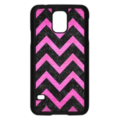 Chevron9 Black Marble & Pink Brushed Metal (r) Samsung Galaxy S5 Case (black) by trendistuff