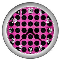 Circles1 Black Marble & Pink Brushed Metal Wall Clocks (silver)  by trendistuff