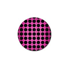 Circles1 Black Marble & Pink Brushed Metal Golf Ball Marker (10 Pack) by trendistuff