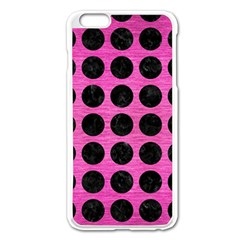 Circles1 Black Marble & Pink Brushed Metal Apple Iphone 6 Plus/6s Plus Enamel White Case by trendistuff