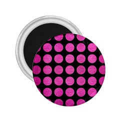 Circles1 Black Marble & Pink Brushed Metal (r) 2 25  Magnets by trendistuff