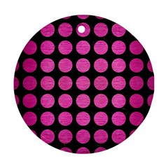 Circles1 Black Marble & Pink Brushed Metal (r) Round Ornament (two Sides)